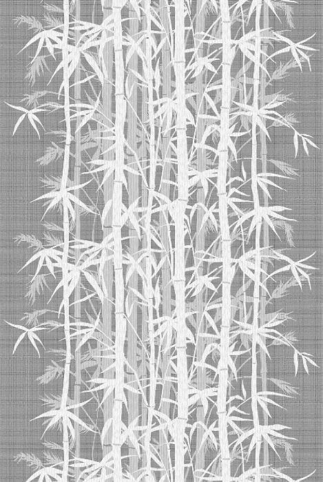 Timorous Beasties Fabric - Bamboo Lace. Pale grey and over printed. Screen is printed over and over again to layer up. Slightly different shades of white have been used.