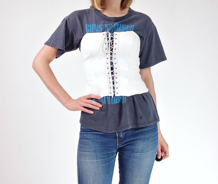 80s white leather laced corset made in Brazil / size M by Only1Copy on Etsy