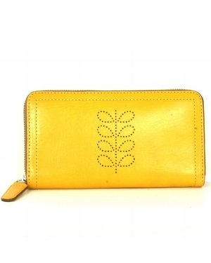 Orla Kiely Structured Stem Leather Big Zip Wallet - Buttercup