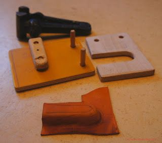 Old Path: Simple leather press for Vic sheath making.
