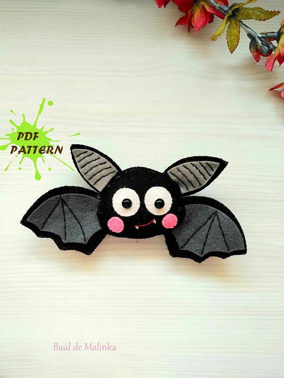 PDF Pattern Bat Felt Pattern Felt Ornament PatternSoftie