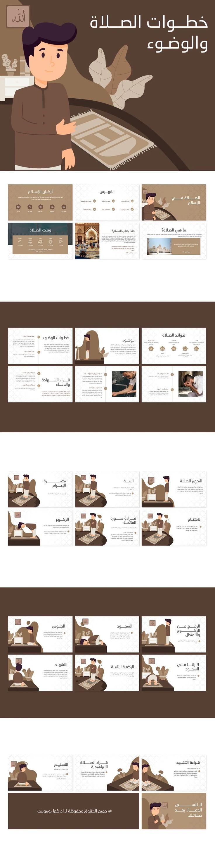بوربوينت جاهز عن خطوات الوضوء وكيفية أداء الصلاة ادركها بوربوينت Birthday Background Design Presentation Template Free Powerpoint Format