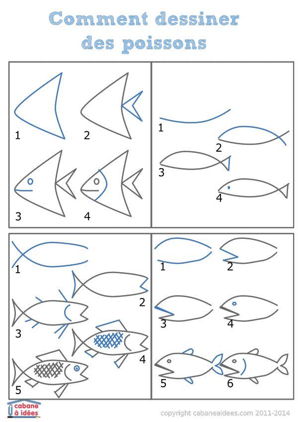 Les 25 meilleures id es de la cat gorie coloriage mer sur - Dessiner un poisson facilement ...