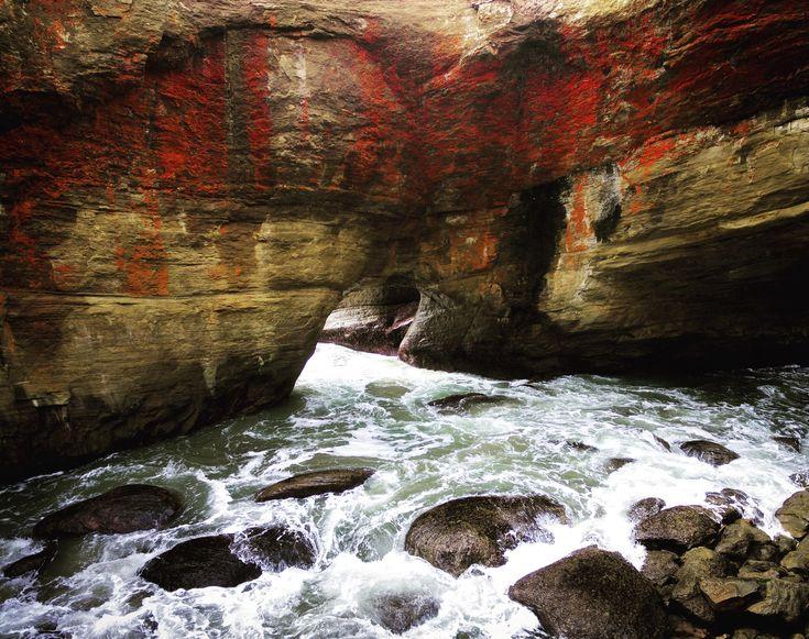 Iron Rich Sedimentary Rock Inside Devils Punchbowl Oregon (OC)[3784x2990]