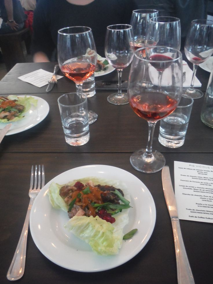 First Course--Saam de cabeza de chancho lacada, Barbacoa china y Bonito seco. Served with Aquitania Rose. (Not sure of this translation, but something to do with a pig's head.)