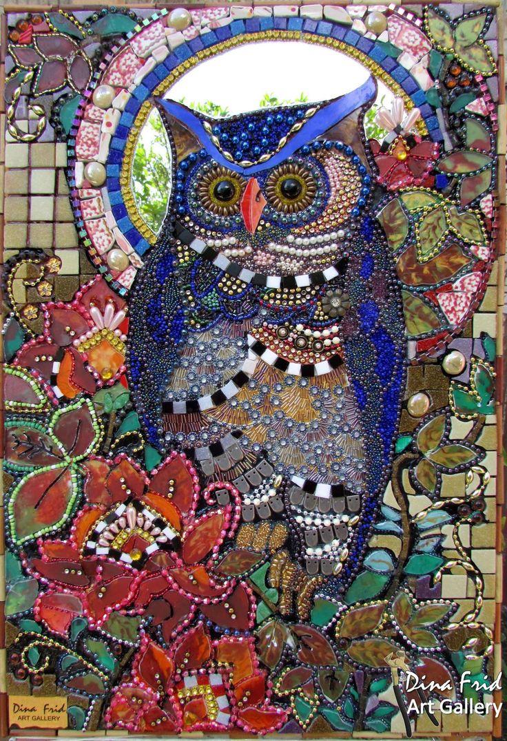 Owl mosaic by Dina Frid