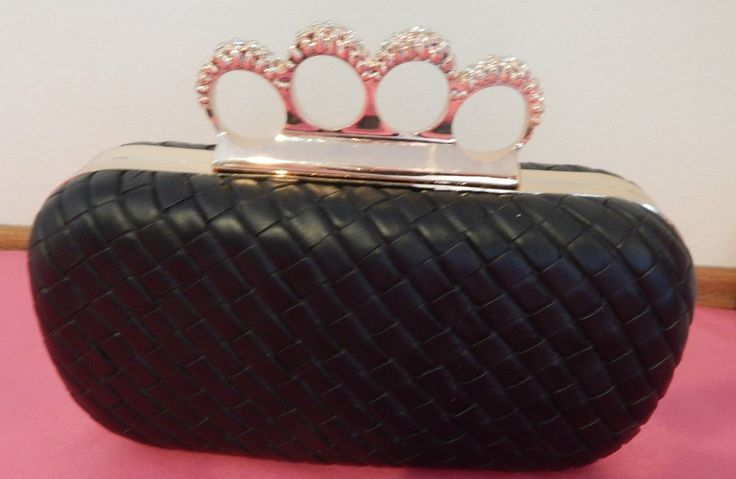 Knuckle Diamante Box Clutch - BNWT - 2 Colours Available - Black, Navy Blue