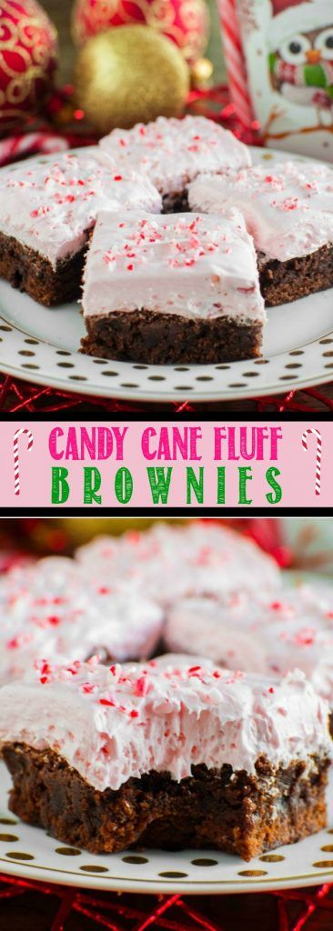 Candy Cane Fluff Brownies are a winning combination of light, creamy peppermint fluff with rich, chewy fudge brownies! A perfect, easy Christmas dessert!