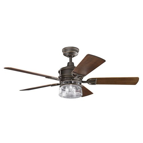 Olde bronze lyndon patio outdoor ceiling fans with 5 blades includes light kit and downrod