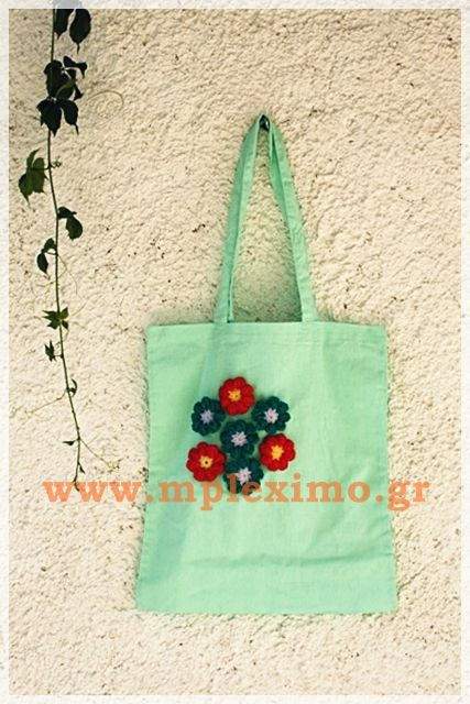 crochet flowers embellished tote bag