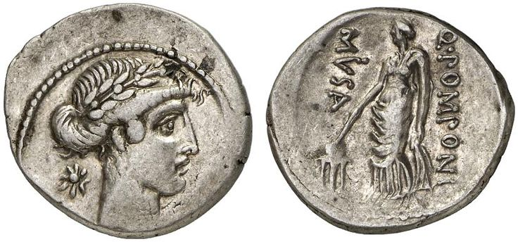 AR Denarius. Roman Coins, Roman Republic, Moneyers, Q.Pomponius Musa. 66 BC, 3,81g. Syd. 823. EF. Starting price 2011: 720 USD. Unsold.