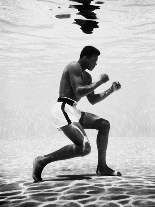 Ali. Boxing underwater.