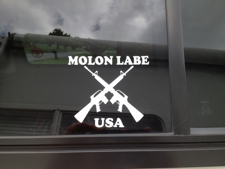 A personal favorite from my Etsy shop https://www.etsy.com/listing/155886289/molon-labe-decal-crossed-ar-15-decal