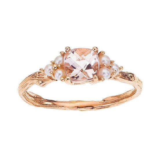 Rose Gold Ring - Morganite and Pearl for Engagement or not  -  Antique Style  -  Stunning Cushion Cut with Rose Gold - Pretty in Pink on Etsy, $1,710.00