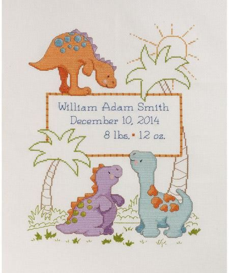 Bucilla Cute-A-Saurus Birth Record - Cross Stitch Kit. Based on the popular nursery design created by Cathy Heck, the Cute-A-Saurus Counted Cross Stitch Birth R