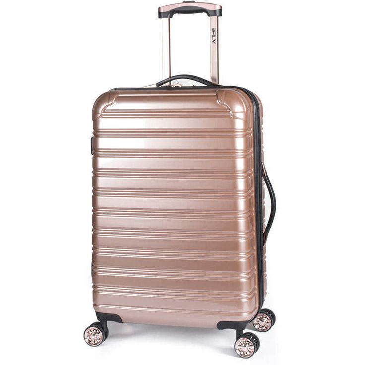 """iFLY Hard Sided Luggage Fibertech 24"""" Rose Gold Spinner Electric ABS/PC Design  #iFLY"""