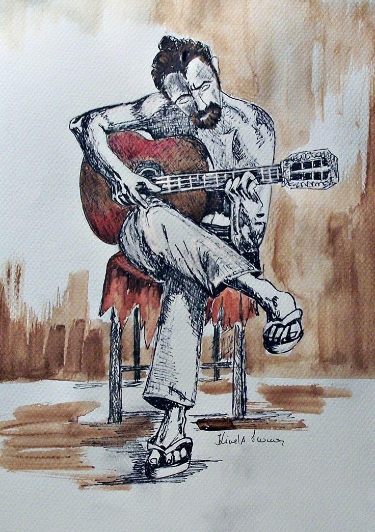 Csendes gitárpengetés.  Tustoll, 30x21cm.