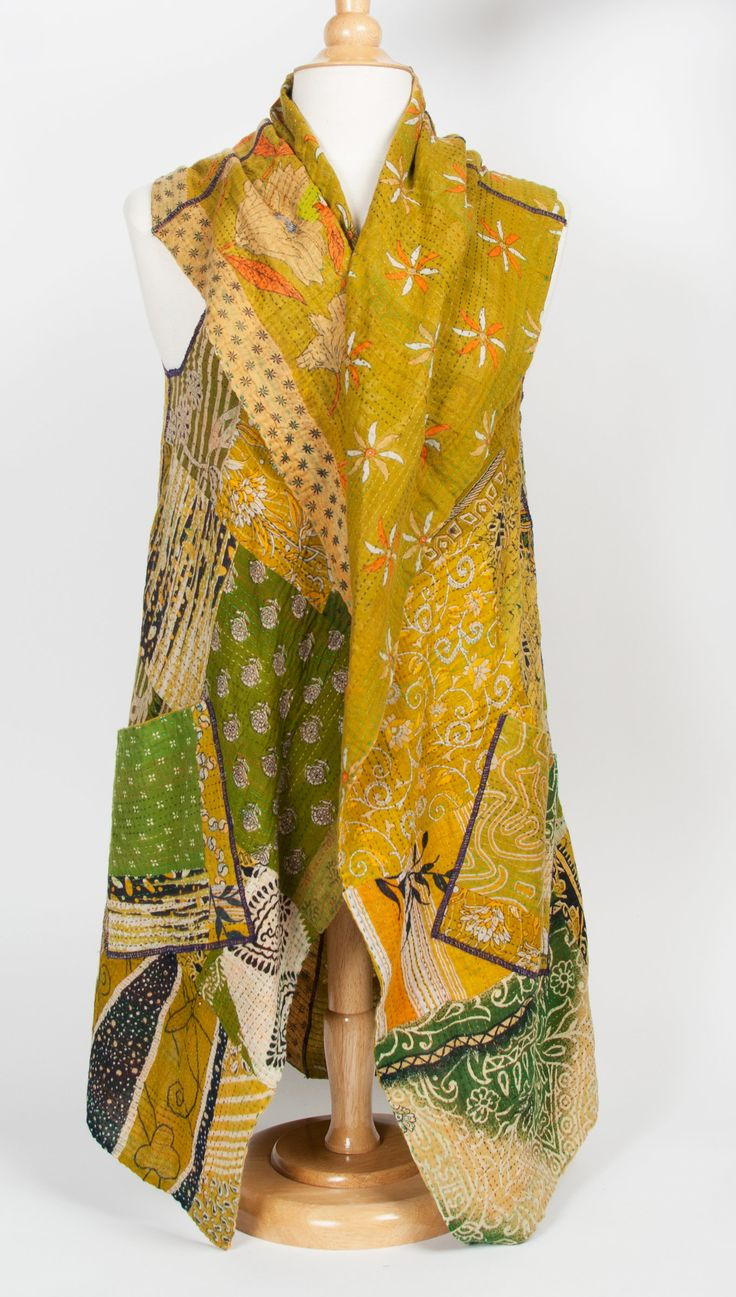 Kantha Patchwork Vest by Mieko Mintz: Cotton Vest available at www.artfulhome.com