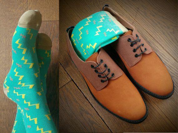 Men socks Multi coloured socks colourful by MoustardLondon