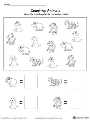 Help your child practice counting and writing numbers with the Count and Write the Number of Animals printable worksheet.