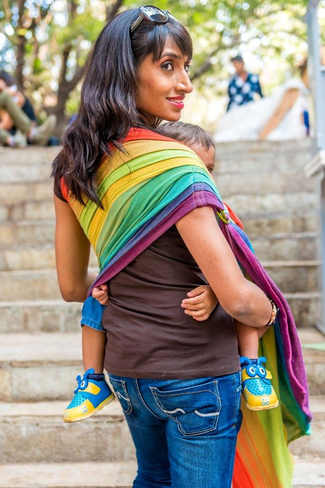 Saptrangi - Meaning Seven ColouredThis ring sling is handmade from our gorgeous Saptrangi handwoven cotton wrap with these striking seven colours. This wrap has been designed by Rashmee herself and has been woven by a renowned handloom cooperative in South India known for the hig