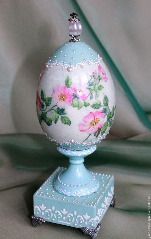 """Купить Яйцо пасхальное """"Небесный свет"""" - голубой, Пасха, пасхальный подарок, пасхальное яйцо"""