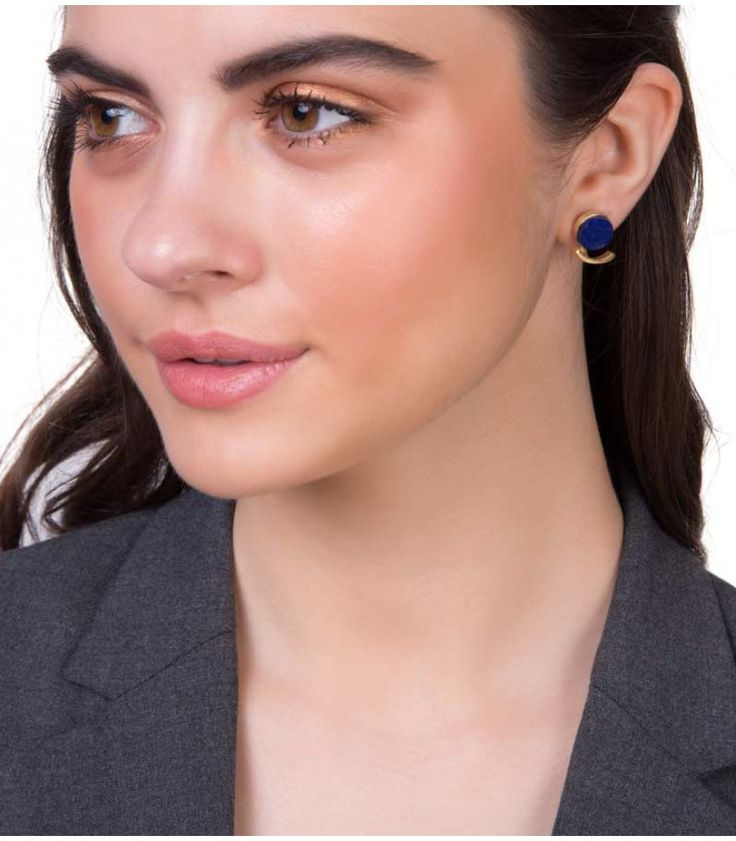 Theory of Unique Lapis Lazuli Earrings by Zariin. Handcrafted with blue lapis lazuli stone in 22kt gold plating. See the collection at www.zariin.com   #blue #lapislazuli #stone #goldplated #earrings #zariin #jewelry