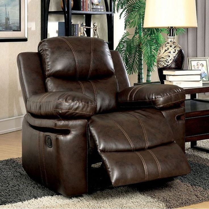 Benzara Listowel Transitional Recliner Chair, Brown, Size Standard (Bonded Leather)