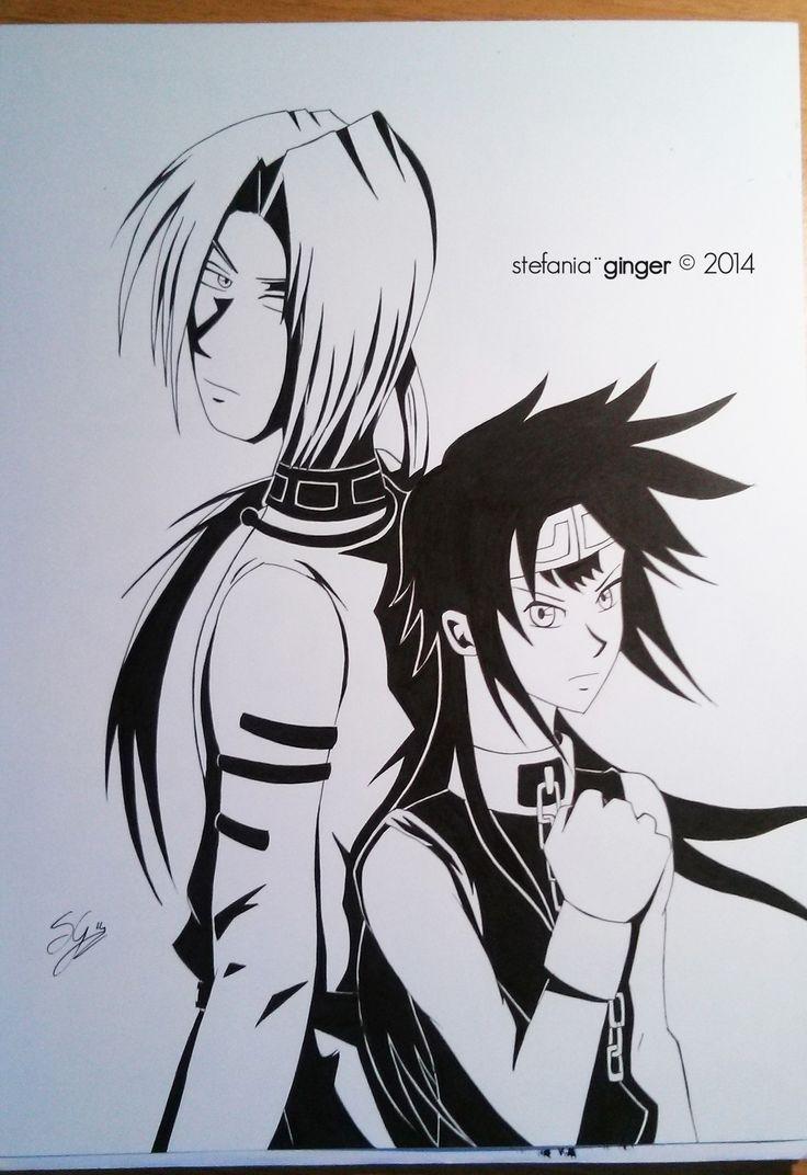 Konzen and Son Goku from Saiyuki - fan art by me A4 - ink