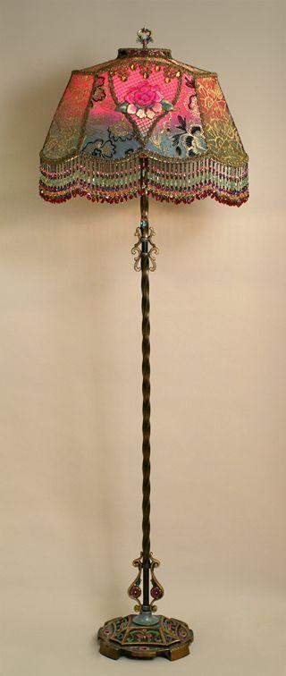 berengia:  Edwardian Style Lampshade on Antique Lamp Base