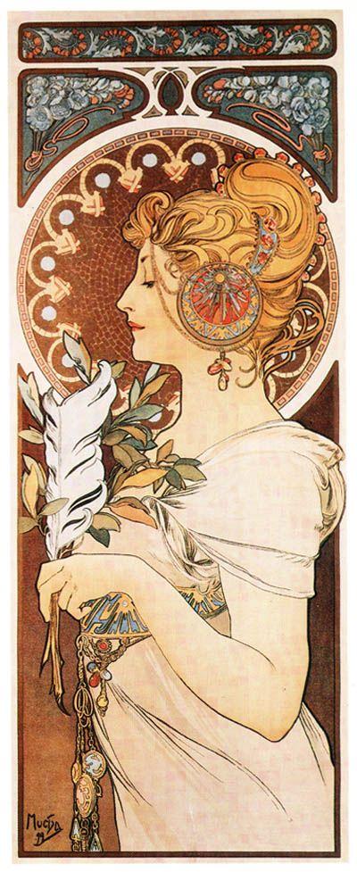 Mucha Quill 1809 Poster Art Print Classic Art Nouveau Woman (2 of 2))