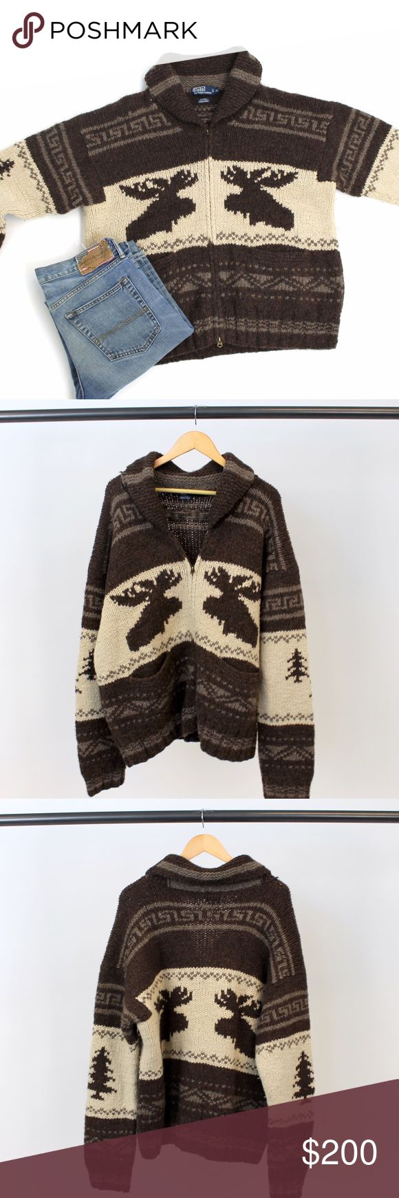 Brown and Cream Zip up Moose Sweater Brown and Cream Zip up Moose Sweater by Ralph Lauren. 75% Wool 25% Alpaca. Get in the festive spirit with this cabin- chic sweater! You will hardly believe how soft it is! Lightly worn! Ralph Lauren Sweaters Zip Up