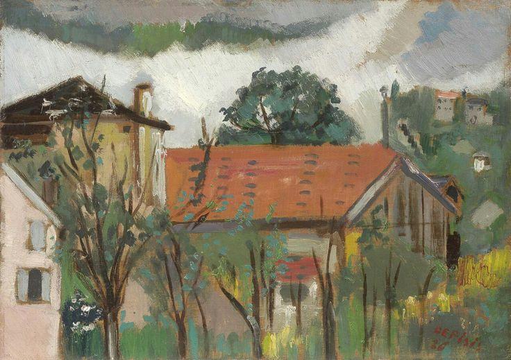 Filippo de Pisis (Italian, 1896-1956),Il tetto rosso, 1926. Oil on board, 32.5 x 46 cm.