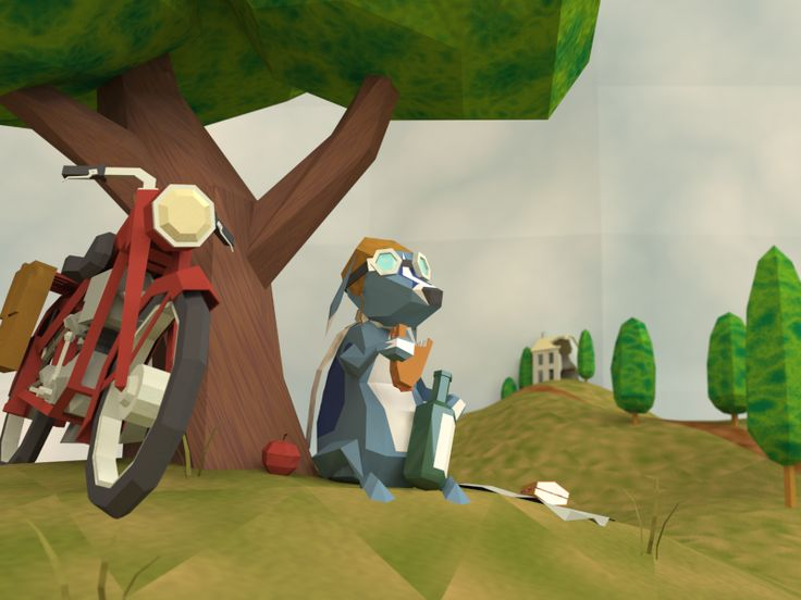 Messenge Dog Stops for Lunch. Low Poly 3D illustration by Ed Beals