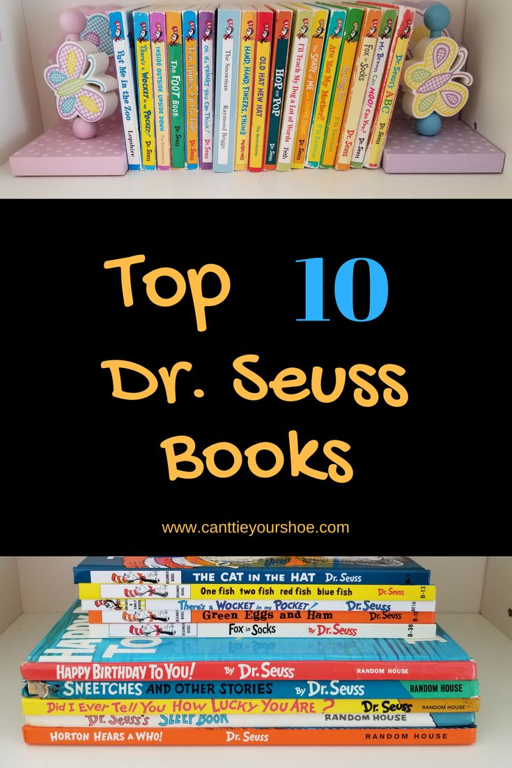 Top 10 Dr. Seuss Books.  Cat in the Hat, Sneetches, Happy Birthday to you and more!  Did your favorite make the top 10?