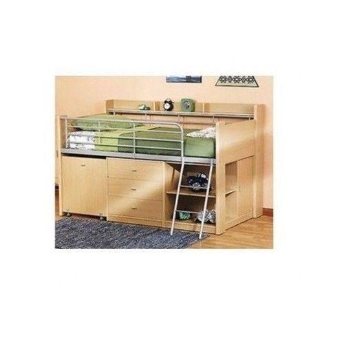 Storage Loft Bed Built In Drawers Cabinets Desk Twin Shelf Frame Bunk  Ladder New
