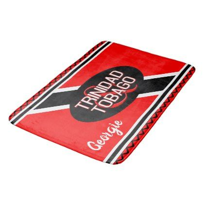 Personalized Trinidad and Tobago Flag Bath Mat - black and white gifts unique special b&w style