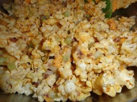 Popcorn Salad is really tasty; odd, but tasty!  And fun! The original recipe is from  BakeSpace ; I omit the 2 cups finely chopped wa...