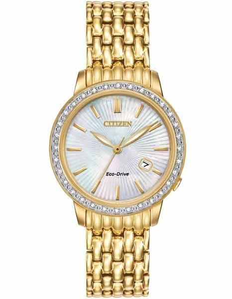 Citizen Eco-Drive Ladies 32 Diamond Dress Watch - Gold-Tone - Mother of Pearl