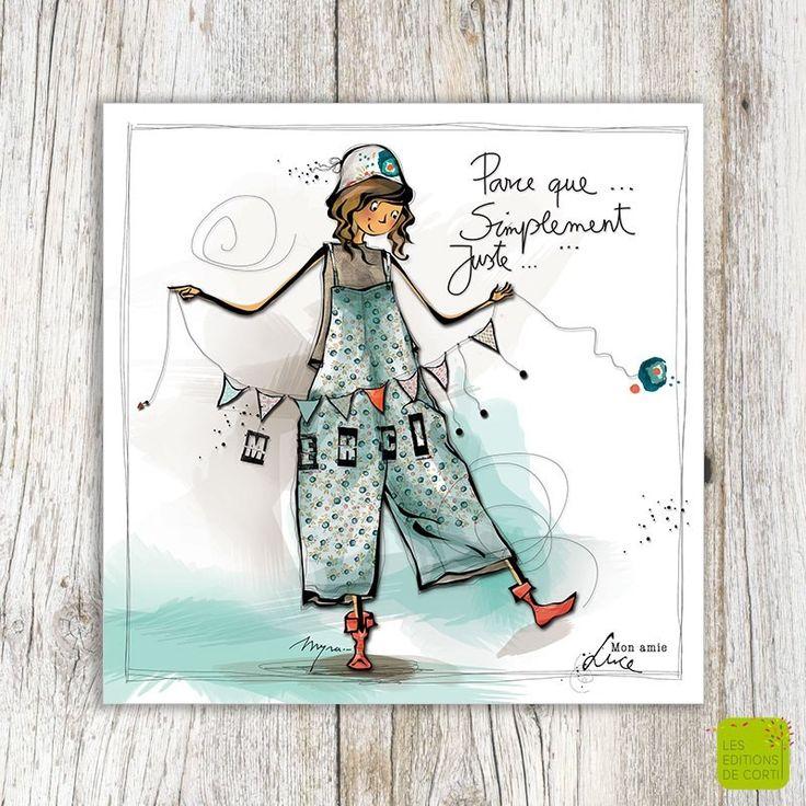 Parce-que ... Simplement ... Juste ... MERCI - Carte postale illustrée par Myra Vienne - www.editionsdecortil.com