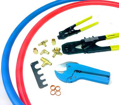 All what you need for successful PEX plumbing installation: PEX tubing (red and blue color, non-barrier), Crimp Tool, Decrimping Tool, Lead Free Crimp Fittings, Pipe Cutter, Copper Crimp Rings, Go-No-Go Gauge. All these supplies available at Canarsee for residential or commercial applications.