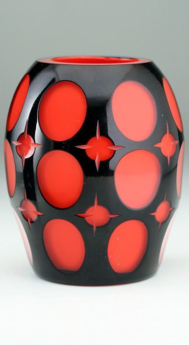 c.1914-20 JOHANN OERTEL BLACK CUT TO RED GLASS VASE