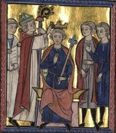 1131.Coronation of Fulk,king of Jerusalem.(BnF,Français 9084,fol. 169) 13 cent.В 1127 Фульк готовился вернуться в Анже,когда получил послание от кор.Балдуина II Иерусалимского.Балдуин не имел наследников муж.пола и объявил св.преемницей дочь Мелисенду. Король рассчитывал защитить наследство дочери,выдав её за авторитетного рыцаря.Фульк был богатым и опытн.крестоносцем,к тому же вдовцом.Его опыт в воен.обл.должен был стать крайне ценным в деле защиты границ королевства.