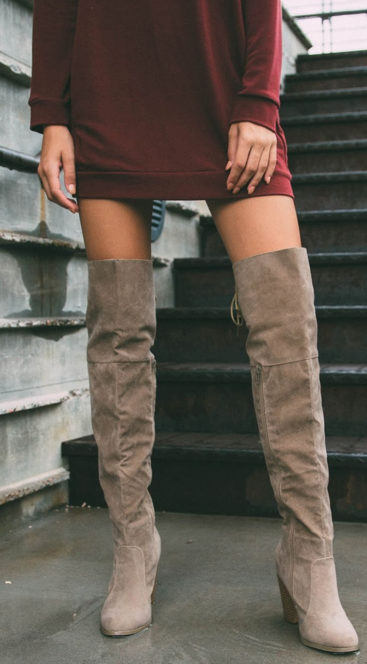 Long Sweatshirt Nude Over The Knee Boots Outfit