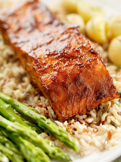 Baked Teriyaki Salmon with Asparagus and Rice | AmazingSeafoodRecipes #seafood #recipes #fish