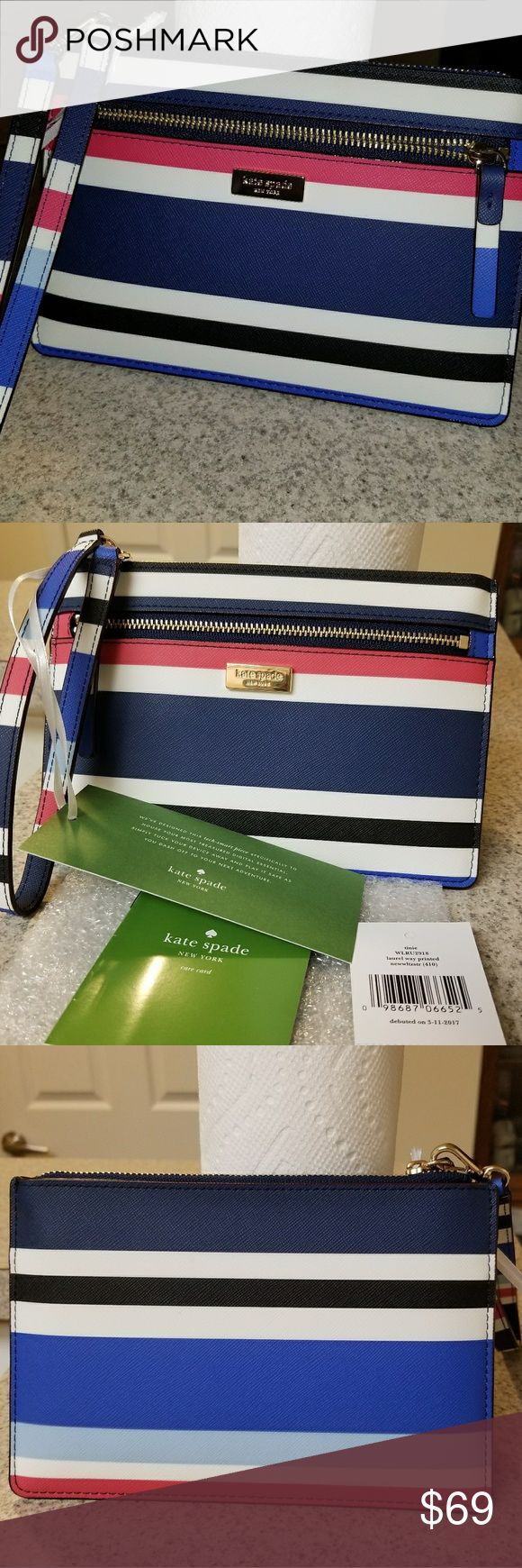 """NWT Kate Spade Laurel Way Berber Stripe Tinie Nwt Kate Spade wristlet also known as a Tinie in the laurel way stripe. So cute.   Zipper closure,  4 interior credit card slots and an exterior zipper pocket.   Measurements 4.8"""" H x 7.3"""" W kate spade Bags Clutches & Wristlets"""