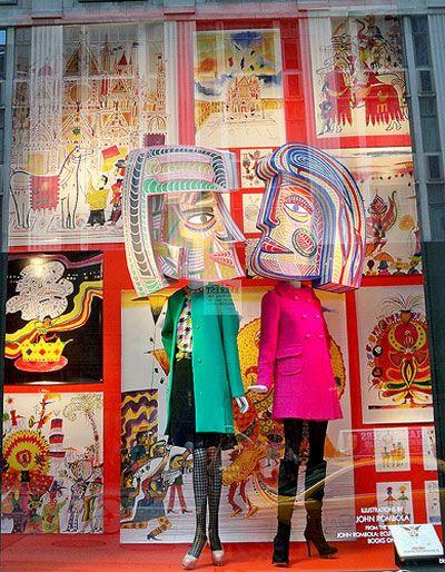 Pop art and retro type of window display merchandising for Pop window design