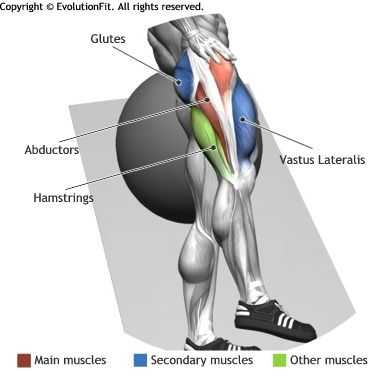 ABDUCTORS -  SIDE LEG RAISES ON STABILITY BALL