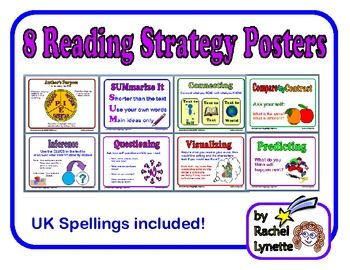 FREE 8 Reading Strategy Posters! Author's Purpose, Summarizing, Connecting, Compare and Contrast, Inference, Questioning, Visualizing, and Predicting.