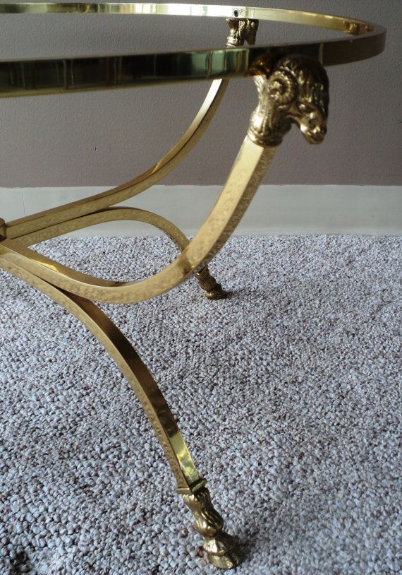 SOLD-Maison Jansen Style Brass Coffee Table by JulesModerne.com.